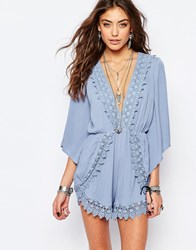 Kiss The Sky Playsuit With Plunge Neck And Lace Trim Blue