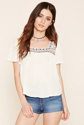 Forever 21 Embroidered Peasant Blouse