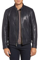 Andrew Marc New York Men's Boarder Lambskin Leather Moto Jacket Ink