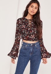 Missguided Floral Lace Up Flared Sleeve Crop Blouse Multi Black