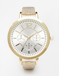 New Look Metallic Oversized Skinny Strap Watch Gold