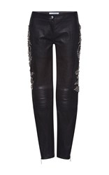 Zuhair Murad Biker Pants With Crystal Embroidery Black