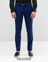 Only And Sons Skinny Smart Trousers With Stretch Turn Up Blue