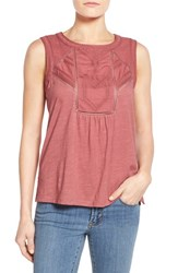 Women's Caslon Embroidered Lace Detail Cotton And Modal Tank Red Cowhide