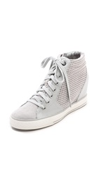 Dkny Cindy Perforated Wedge Sneakers Grey