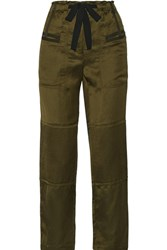 Elizabeth And James Bode Quilted Satin Twill Straight Leg Pants Army Green