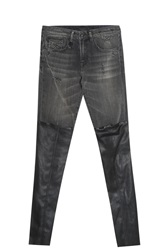 R 13 Leather Panelled Jeans Black
