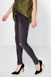Boohoo Mid Rise Skinny Slash Knee Jeans Charcoal