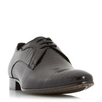Dune Raptor Reptile Embossed Lace Up Shoes Black
