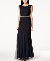 Betsy And Adam Jeweled Chiffon Lace Gown