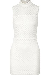 Elizabeth And James Neri Latticed Stretch Crepe And Mesh Mini Dress White