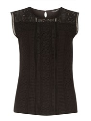 Dorothy Perkins Mixed Lace Shell Top Black