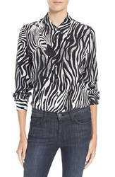 Equipment 'Brett' Zebra Print Silk Shirt Marshmallow True Black