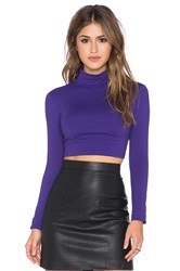 Susana Monaco Turtleneck Crop Top Purple