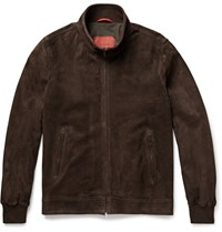 Isaia Perforated Suede Bomber Jacket Brown