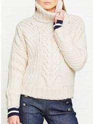 Tommy X Gigi Chunky Cable Knit Roll Neck Jumper White