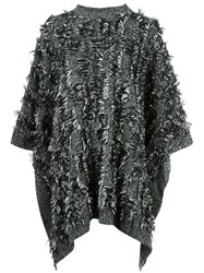Mcq By Alexander Mcqueen Frayed Edge Poncho Black