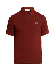Stone Island Short Sleeved Cotton Pique Polo Shirt Burgundy