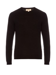 Burberry Long Sleeved Cashmere And Cotton Blend Sweater Black