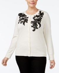 Charter Club Plus Size Lace Applique Cardigan Only At Macy's Vanilla Bean Combo