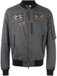 Valentino Embroidered Jamaica Butterflies Bomber Jacket Grey