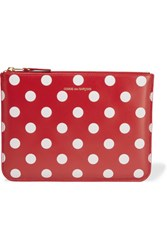 Comme Des Garcons Polka Dot Leather Pouch Red