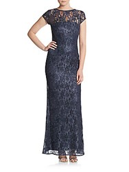 Laundry By Shelli Segal Platinum Sequined Lace Gown Midnight