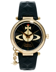 Vivienne Westwood Leather Strap Watch With Orb Charm Vv006bkgd Blackandgold
