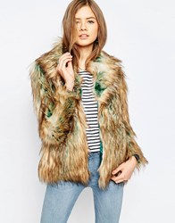 Noisy May Foxy Faux Fur Jacket Tobacco Brown