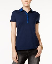 Tommy Hilfiger Marley Plaid Polo Shirt Only At Macy's Core Navy