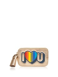 Anya Hindmarch I Love U Leather Coin Purse Gold