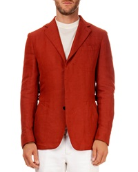 Berluti Linen Blend Three Button Jacket Orange