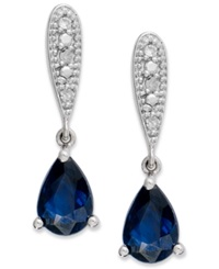 Macy's 10K White Gold Earrings Sapphire 7 8 Ct. T.W. And Diamond Accent Pear Shaped Drop Earrings