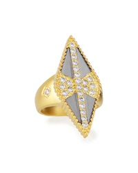 Freida Rothman Belargo Diamond Shaped Beaded Cz Ring 8