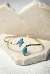 Forever 21 Sunahara Double Diamond Palm Cuff Gold Blue