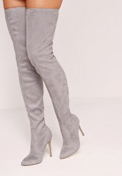 Missguided Pointed Toe Over The Knee Heeled Boots Grey