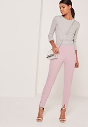 Missguided Skinny Fit Cigarette Trousers Lilac Mauve