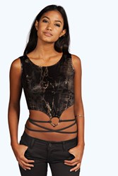Boohoo Metallic Snake Print Crop Top Black
