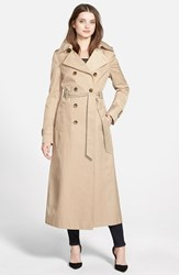 Women's Dkny Hooded Double Breasted Maxi Trench Coat Sand