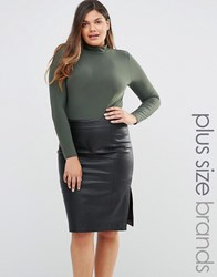 Club L Plus Body With High Neck Khaki Green