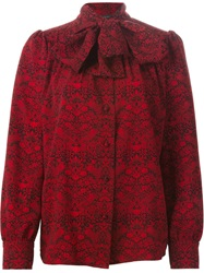Marc By Marc Jacobs Allover Printed Bow Collar Shirt Red