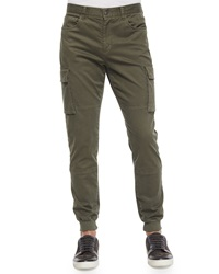 Vince Twill Knit Cargo Jogger Pants Green