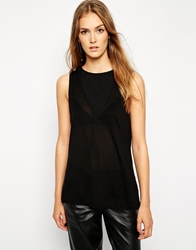 French Connection Polly Plains Tank With Sheer Insert Black