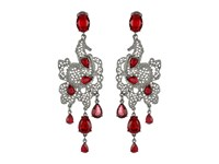 Oscar De La Renta Lace Long Drop C Earrings Ruby Earring Red
