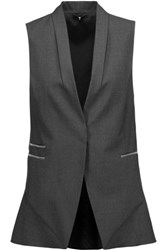 Brunello Cucinelli Bead Embellished Wool Blend Vest Dark Gray