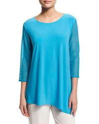 Caroline Rose Mod Mesh Sleeve Combo Top Petite Women's Pool Blue