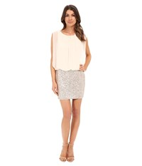 Aidan Mattox Blouson Cocktail Dress With Stretch Sequin Skirt Champagne Silver Women's Dress