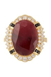 Savvy Cie 18K Gold Vermeil Oval Ruby And Pave White Topaz Cocktail Ring Red
