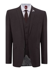 Lambretta Check Notch Collar Slim Fit Suit Grey