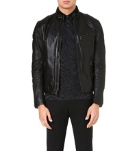 Ralph Lauren Black Label Cafe Leather Biker Jacket Black
